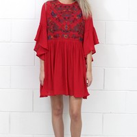Full of Joy Floral Embroidery Dress {Strawberry}