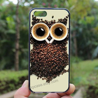 Cute Retro Coffee Kawaii Owl,owl case,iphone 5s case,iphone 4 case,iPhone4s case, iphone 5 case,iphone 5c case,Gift,Personalized,water proof