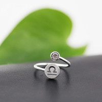 925 Sterling Silver 12 Constellation Ring (Libra)