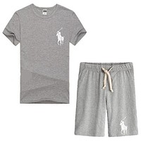 Trendsetter Polo Ralph Lauren Women Men Casual Sport T-Shirt Top Tee Shorts Set Two-Piece