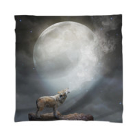 The Light of Starry Dreams (Wolf Moon 2) Mini Wall Tapestry / Scarf created by soaringanchordesigns | Print All Over Me