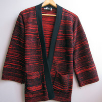 Vintage 70s Red Black Cardigan Sweater Knit Bell Sleeve Long Space Dye Small