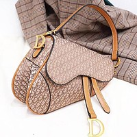 DIOR Stylish Women Leather Canvas Saddle Bag Satchel Crossbody Shoulder Bag