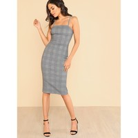 Plaid Form Fitted Cami Dress