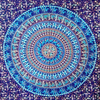 Indian Hippie Wall Hanging, Bohemian Twin Wall Hanging Bedspread Beach Coverlet Throw Decor Art Indian Elephant Curtain Blue Camel Mandala Tapestry