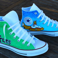 Hand Painted Beatles Converse Chuck Taylor All Star Hi Tops