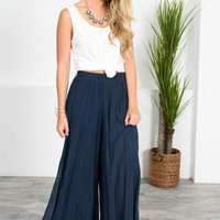 Breezy Navy Loose Bottoms
