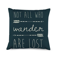 Not All Those Who Wander Arrow Throw Pillow Covers Decorative Cushion Cover 18 x 18 inches