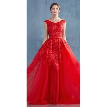 Andrea & Leo A0257 Dress Red Rouge Lace Portrait Neckline Sheath Gown With Overskirt