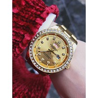 Rolex Trending Stylish White Diamond Watch Women Quartz Watch Wrist Watch Gold B