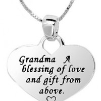 "Sterling Silver ""Grandma"" Reversible Heart Pendant Necklace, 18"""