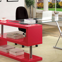 Rose Pink Glass Top S-Panel Desk