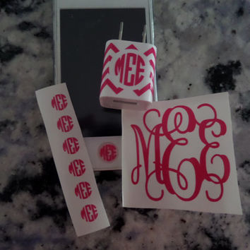 "Monogram iPhone set - Home button, 2"" monogram, and iPhone charger wrap"