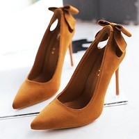 Fashionable pure color sexy women's shoes hot selling bow velvet pointy heels Brown
