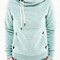 Mint Green Leopard Print Hooded Patched Hoodie