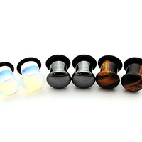 Set of 3 Pairs Single Flare Stone Plugs - 0g - 8mm - (Opalite, Hematite, Tiger Eye) - Sold As a Pair