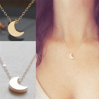 2018 Minimalist Crescent Moon Silver Gold  Long Necklace Women Jewelry Solid Chain Pendant  Necklace