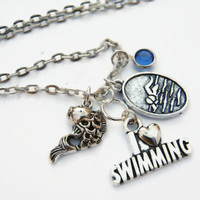 I Love Swimming Necklace, Personalized Birthstone Jewelry, Swimming Neckace, Sports Athlete Necklace, Choose Length, Swimmer Necklace