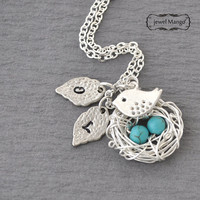 turquoise Silver Robin's 2 Eggs in the nest with bird Necklace, mom of  2 kids, only kid mom silver long necklace, turquoise beads, monogram