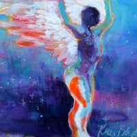 "Small Abstract Figure Painting, Spiritual Art, Angel, Colorful, ""Free Spirit"" 10x8"""