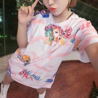 """Moschino"" Women Casual Cute Cartoon Pony Print Short Sleeve T-shirt Middle Long Section Mini Dress"