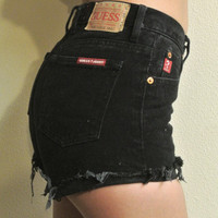 Black Mystery High Waisted Shorts / Sexy Denim Shorts For Summer: Pick Your Size