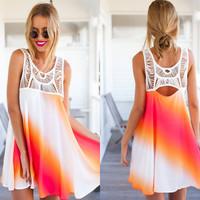Sleeveless Cut-Out Chiffon Mini Dress