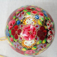 Red Floral christmas ornament ball/Christmas tree decoration ornament/Handmade contemporary Home Décor/Paper mache/Papier Mache/papiermâché