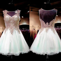 Scoop Neckline Appliques Beaded Short Cocktail Dress Sexy Sleeveless Above Knee See Through Homecoming Party Gowns Prom Dresses