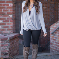 Come & Get It Long Sleeve X Chest Front Twist Top (Grey)