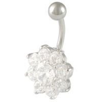 Girls Sunflower Flower Non-Dangle Clear Crystal Belly Button Ring [Gauge: 14G - 1.6mm / Length: 10mm] 316L Surgical Steel & Cubic Zirconia