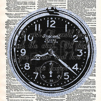 Vintage Clock with Love Quote Dictionary Art Print