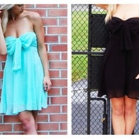 Black Chiffon Strapless Dress with Bow Front Detail