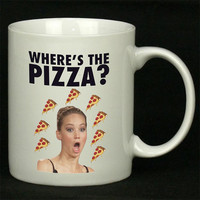 Jennifer Lawrence Where s the Pizza For Ceramic Mugs Coffee *