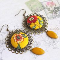 Yellow Mustard earrings fabric floral earrings mustard facet bead French Fabric Provence