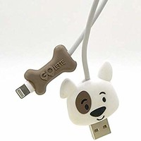 Cute Animal Cable Bite Buddies (Dog/Bone Pack Plus 1 USB Cables), Protector for Smart Cell Phone Charging Cord - Compatible with iPhone Charger, Mobile Phone Accessory (Dog)
