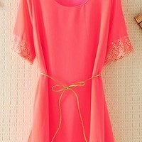 Chiffon Top with Lace Rim with Thin Belt Red from topsales
