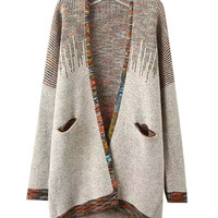 Long Sleeve Ombre Knit Long Coat