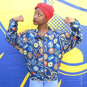 Vintage 90s Windbreaker Jacket, 90's Silk Women's Track Suit Top w Nautical Theme Fabric, Womens Hip Hop Party Zip Up Bomber Small S