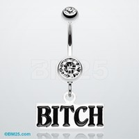 'BITCH' Engraved Belly Ring