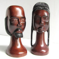 Antique Folk Art Tribal Bust of a Man and Woman