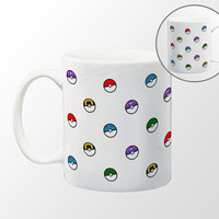 Pokemon - Pokeball Pattern Coffee Mug - 11 oz Coffee Mug - Red - Blue - Purple - Teal - Green Balls