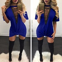 "blue ""New York Minute"" lace up tshirt dress"
