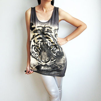 Tiger Shirt Tank Top Tunic Animal Print T-Shirt Women Singlet Dress Vest Size M