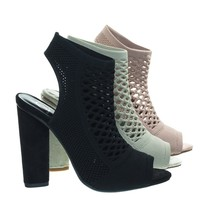 Vinson Black by Delicious, Perforated Stretch Knit Block Heel Sandal Bootie