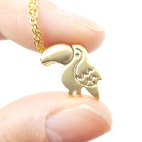 Toucan Bird Shaped Animal Themed Pendant Necklace in Gold   DOTOLY