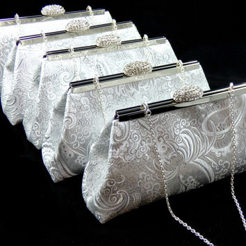 Set of Five Silver Paisley and Eggplant Purple Bridesmaid Gift Clutches 5% Off