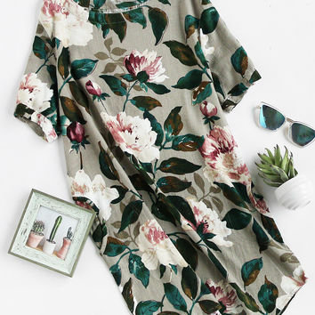Multicolor Round Neck Floral Print With Pockets Dress