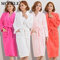MCCKLE Women Men Flannel Bath Robe Sleepwear 2018 Autumn Winter Solid Plush Couple Bathrobe Thicken Warm Female Robe Nightgown