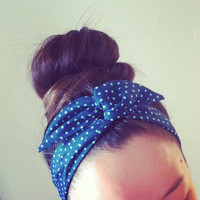 Blue Polka Dot Dolly Bow Headband